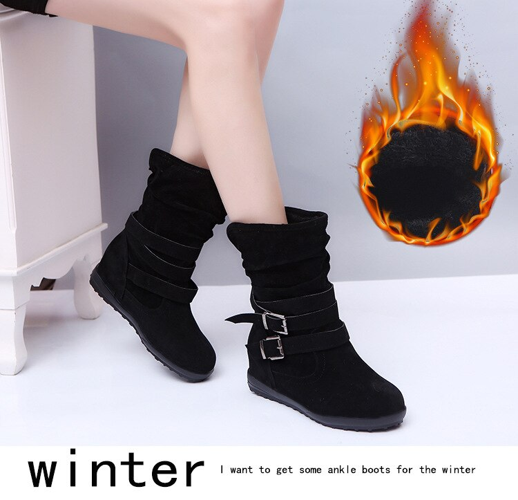 Women Leather Buckle Boots High Heeled Snow Boots
