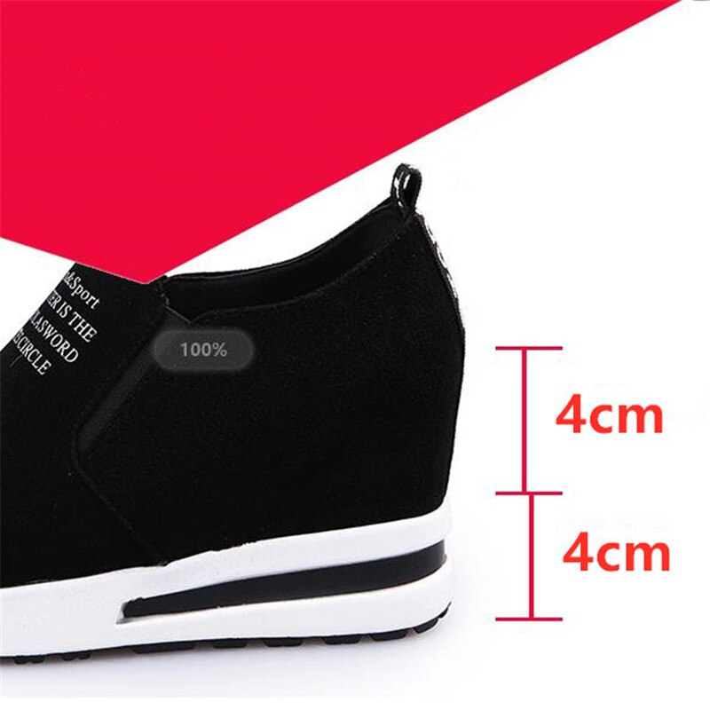 New Flock Increasing Height Women Sneakers Leisure Platform Slip-On Breathable High Heels Sneakers