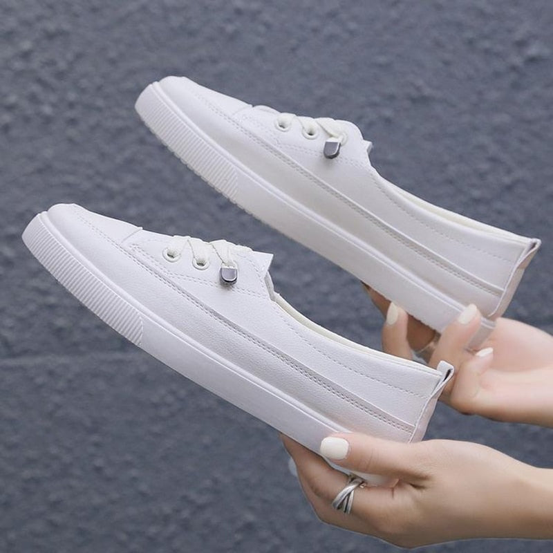 2020 Women Low platform sneakers Female pu leather Vulcanize sneakers
