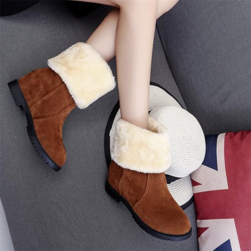 Winter Round Toe Slip-On Warm Ankle Boots Comfy Plush Winter boots