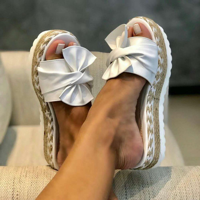 2020 Summer Fashion Bow-Knot Slippers with thick soles platform