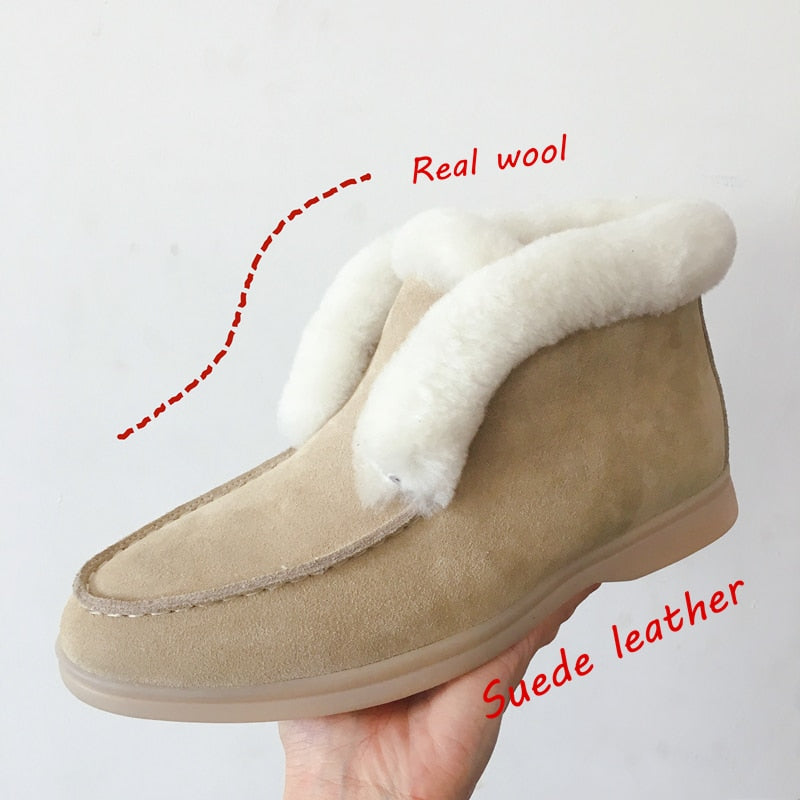 Women Ankle boots cow-suede-leather Snow boots natural-fur Warm Slip-on winter boots