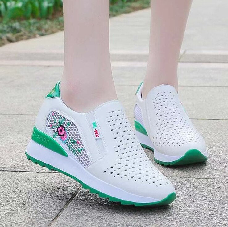 Women Comfortable & Breathe Casual Shoes Slip-on Hollow Out Height Increasing Sneakers