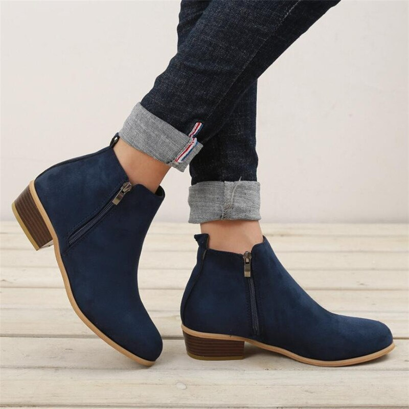 2020 Women Ankle Boots Square Mid Heel Zip Shoes Plus Size 35-43