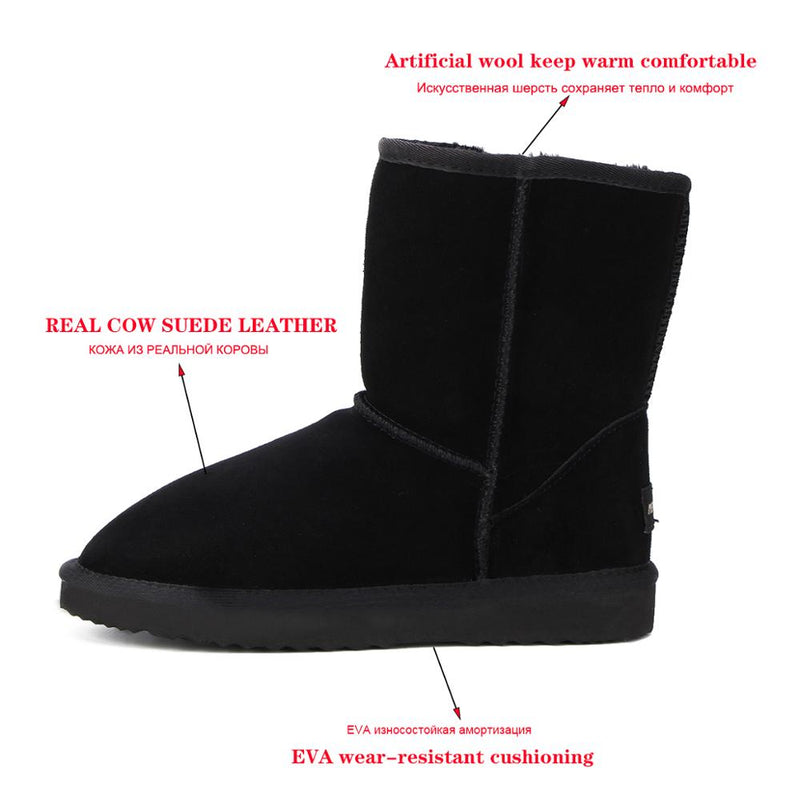 Classic Genuine Cowhide leather snow boots Wool Warm winter boots
