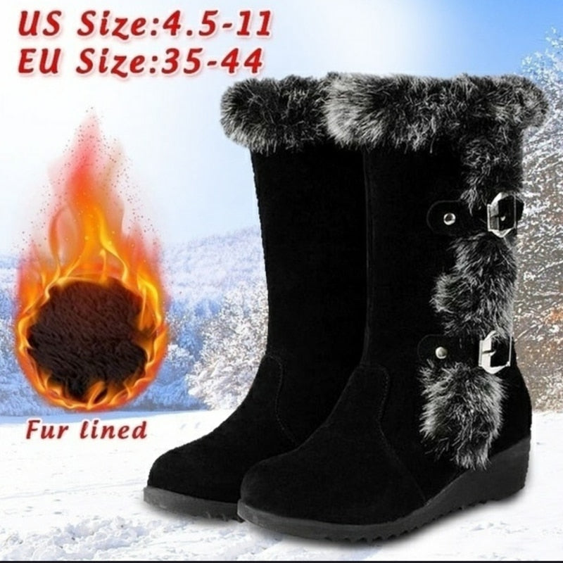 Winter Women Mid Calf Boots High Tube Classic Thick Fleece Models Snow Boots