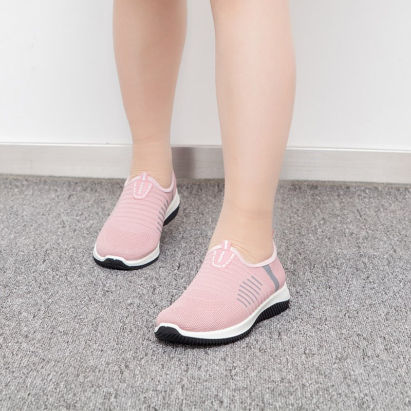Women Knit Casual Slip On Vulcanized Shoes Female Mesh Soft Breathable Sneaker