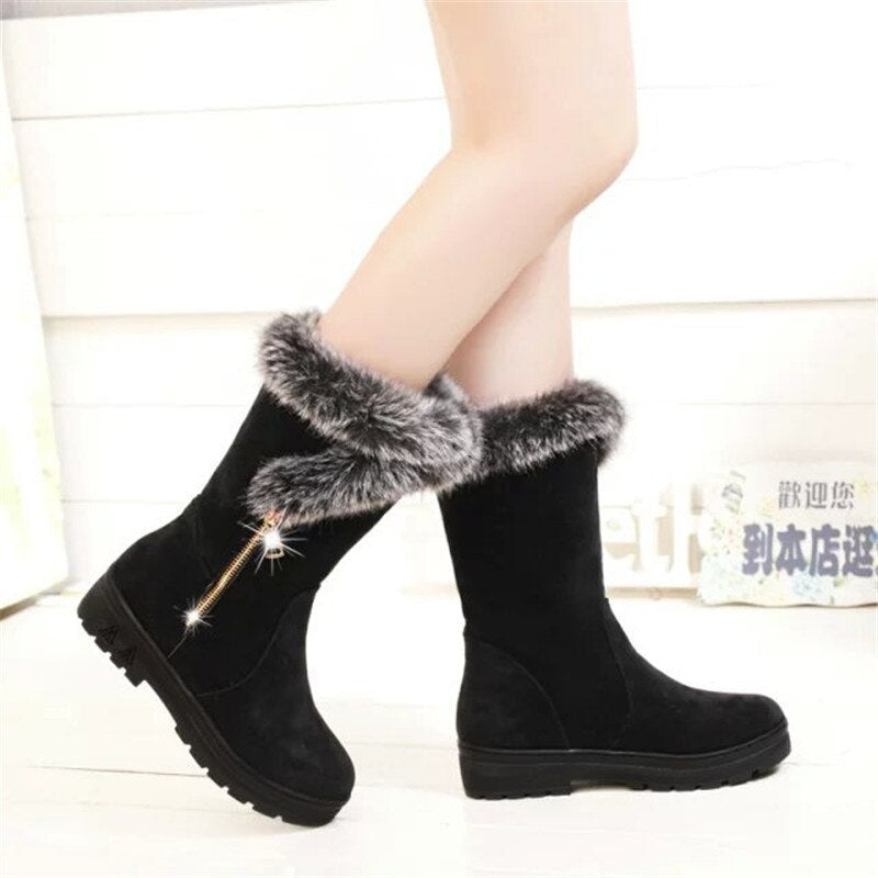 New Hot Flock Slip-On Mid-Calf Snow Boots Thigh-High Women Winter Boots