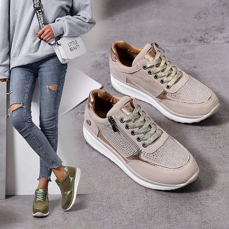 2020 Popular Women Sneakers with Side Zippers