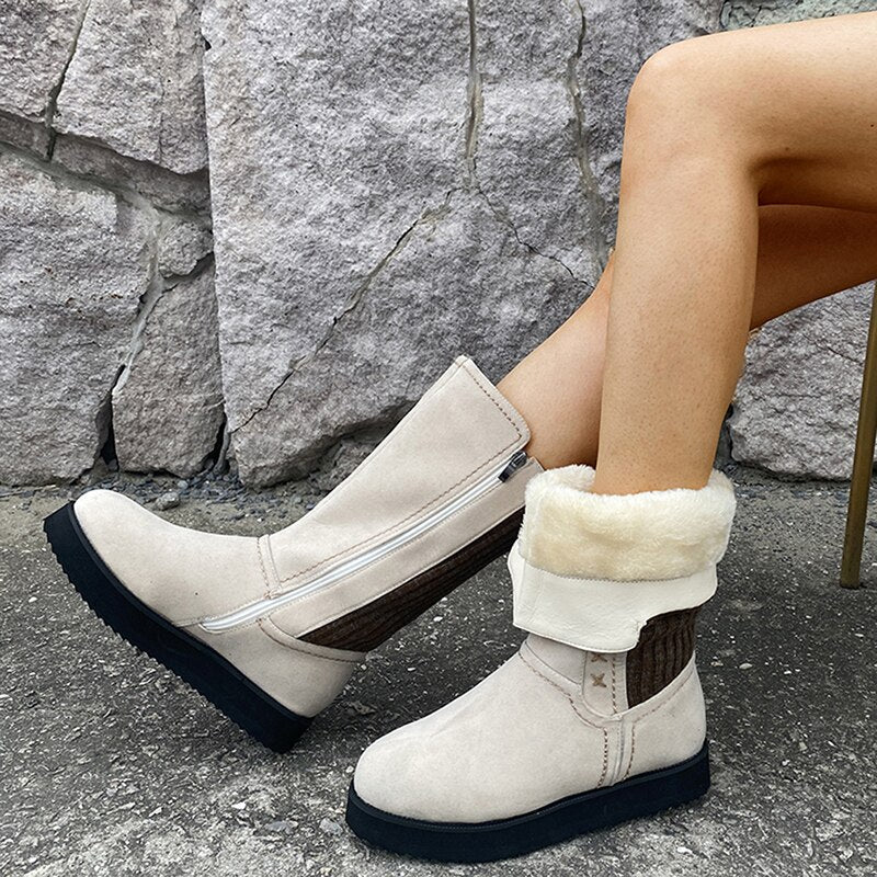 Quality Flat Heel Warm Women Winter Boots Fashion Knitting Patchwork Winter Boot