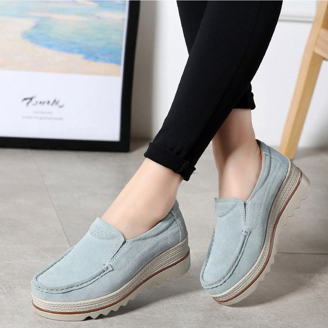 2021 Women Platform Flats Sneakers Women Leather Slip On Casual Shoes