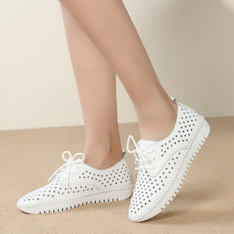 2020 Women Summer Platform sneaker Genuine Leather Breathable Comfort Vacation shoes