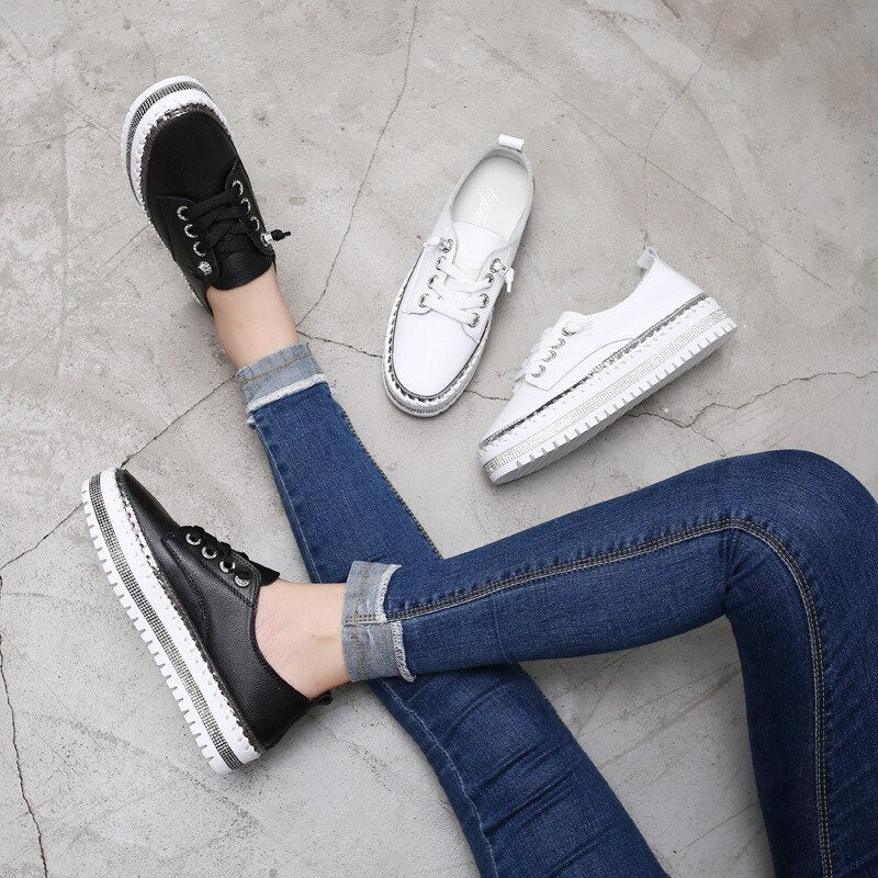 2020 women platform sneakers female Genuine Leather Walking flats Loafers