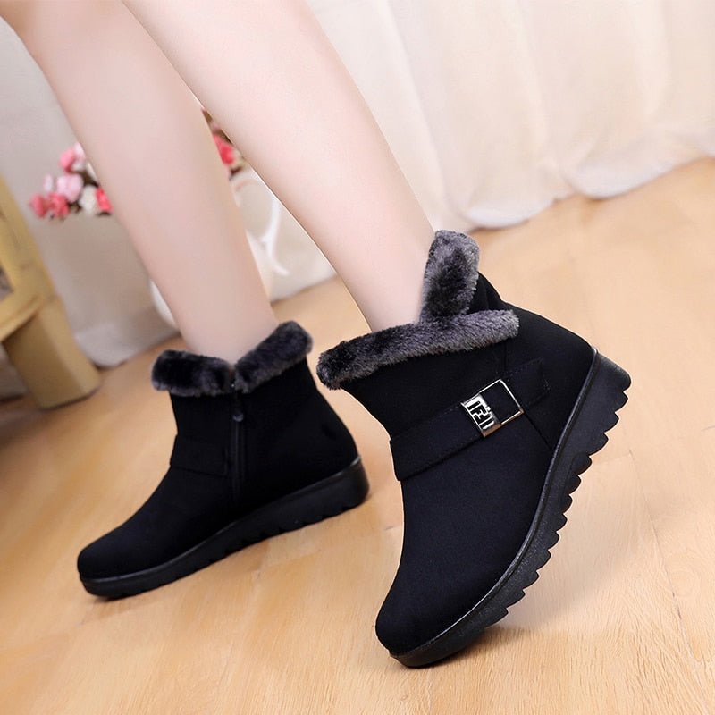 Women Snow Boots Warm Short Fur Plush Winter Ankle Boot Plus Size
