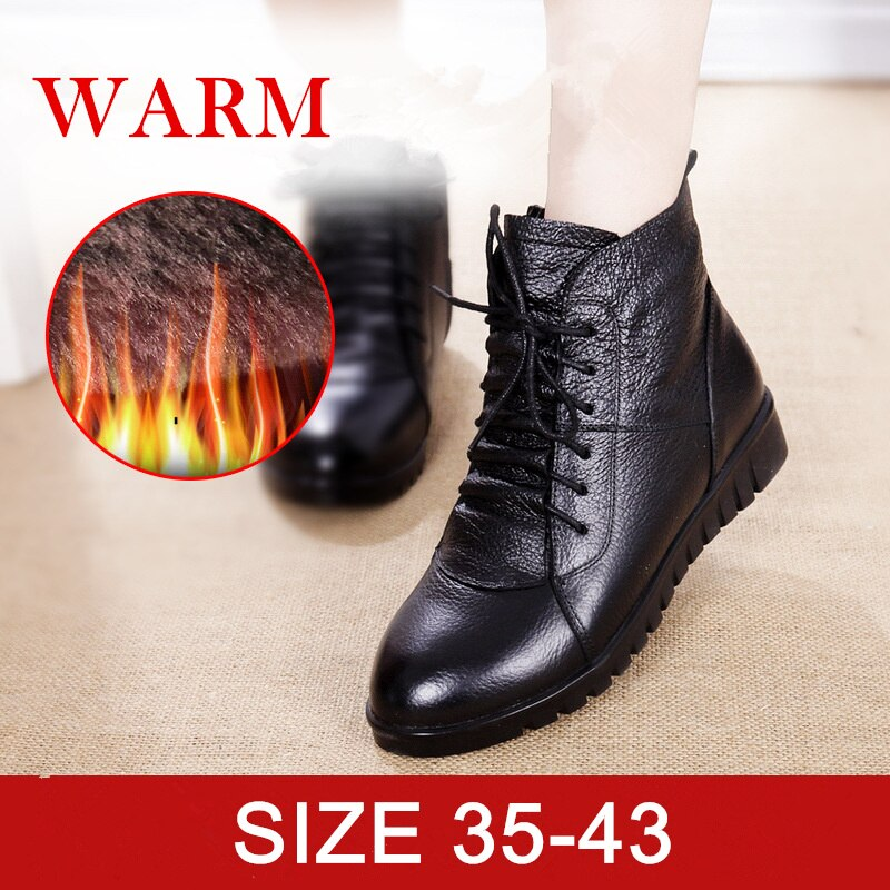 Woman Warm Fur Ankle Winter Boots  Women Genuine Leather Snow Boots