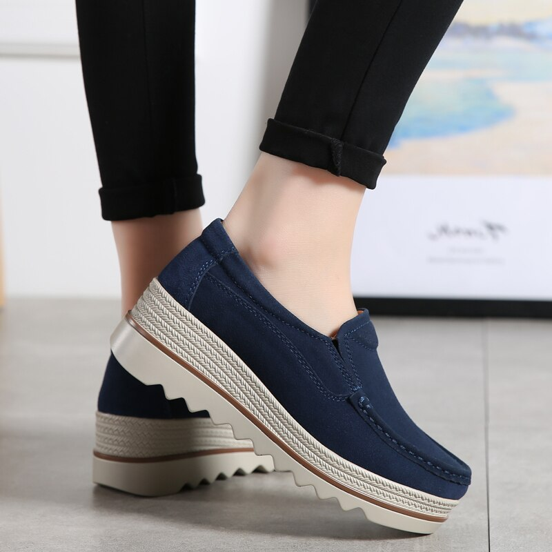 2020 Women Platform Flats Sneakers Women Leather Slip On Casual Shoes