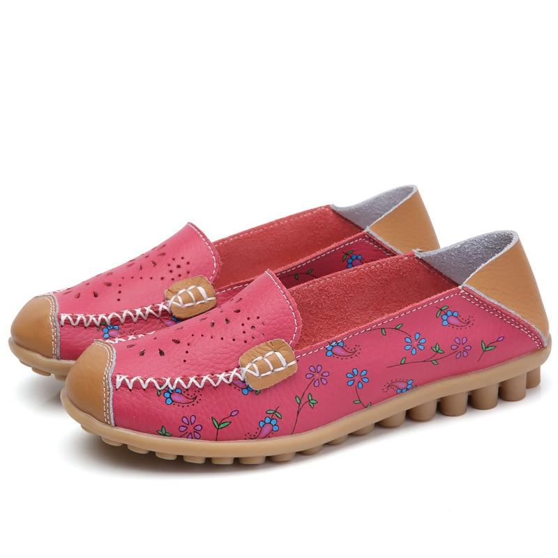 Comfortable Leather Floral Print Flats Casual Slip on Driving Loafers For Women