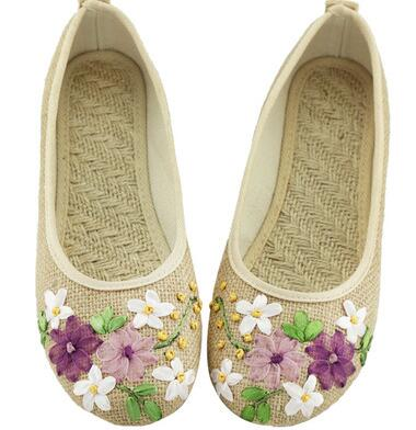 Vintage Embroidered Women Flats Comfortable Old Peking Ballerina Flat Shoes