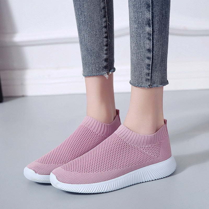 Women's Breathable Mesh Platform Sneakers Slip on Soft Ladies Casual Running Shoes Woman Knit Sock Shoes