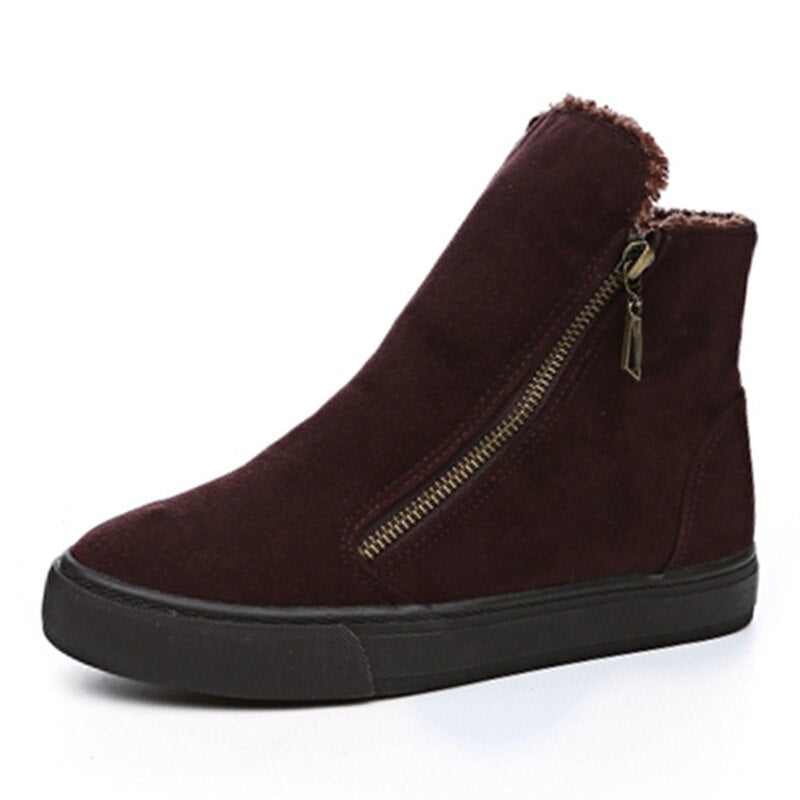 Winter Snow Boots Women Zip Warm Plush Ankle Boots for Cold Winter