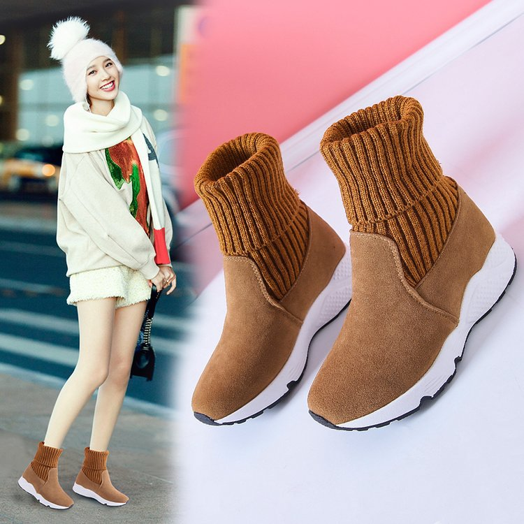 Women Flock Stretch Sock Breathable Casual Shoes Platform Plush Fur Booties Suede Warm Shoes