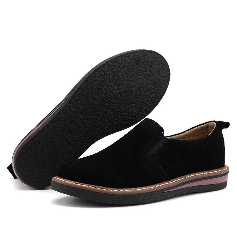 Women Flats Suede Leather Round Toe Shoes Women Slip-On Flat Loafers