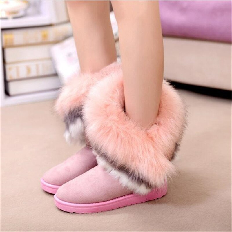 Women Flats Ankle Fur Snow Boots Warm Flock Leather Women Winter Boots