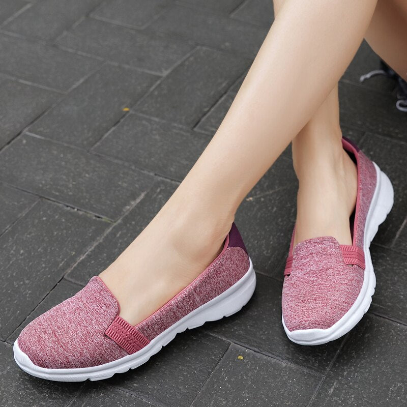 Women Comfy Casual Flats Loafers Shoe Women breathe Slip-on Sneakers