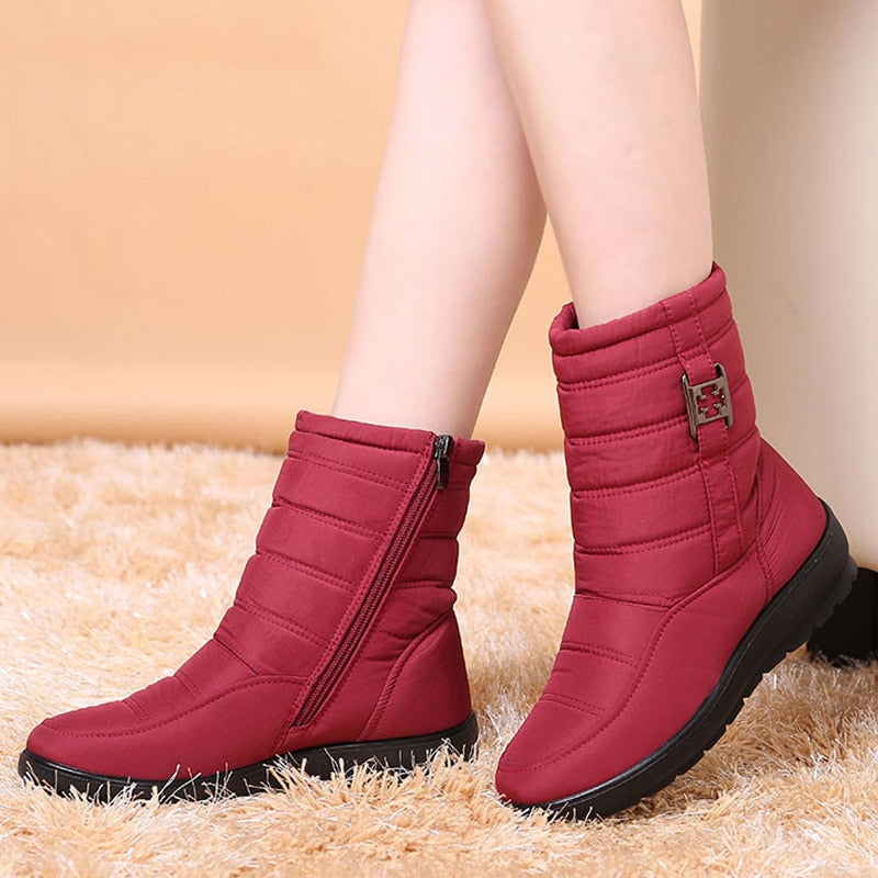 2021 New Water-proof Snow Boots Female Warm Fur Ankle Winter Boots
