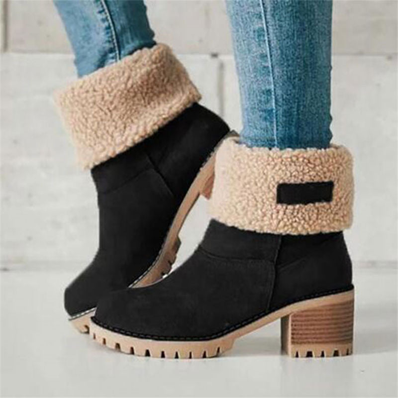 Women Winter Fur Warm Snow Boots Plus size 35-43 Casual Mid Winter Boots