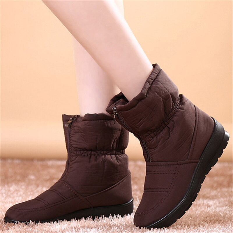 2020 New Water-proof Snow Boots Female Warm Fur Ankle Winter Boots