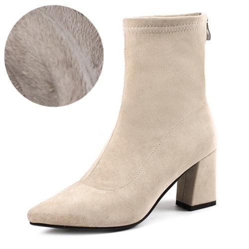 Fashion High Heels Stretch Women Sexy Booties Pointed Toe Women Pump Size 33-43