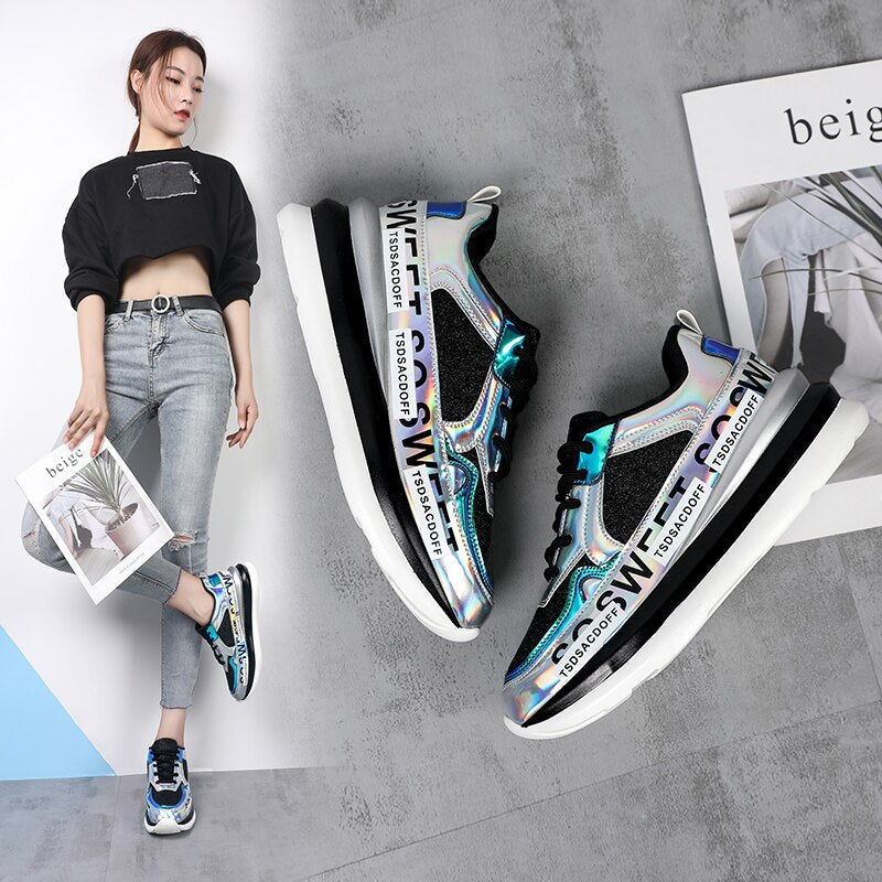New Platform Sneakers Women Stylish Thick Sole Running Shoes Height Increasing 5CM Chunky Sport Shoes