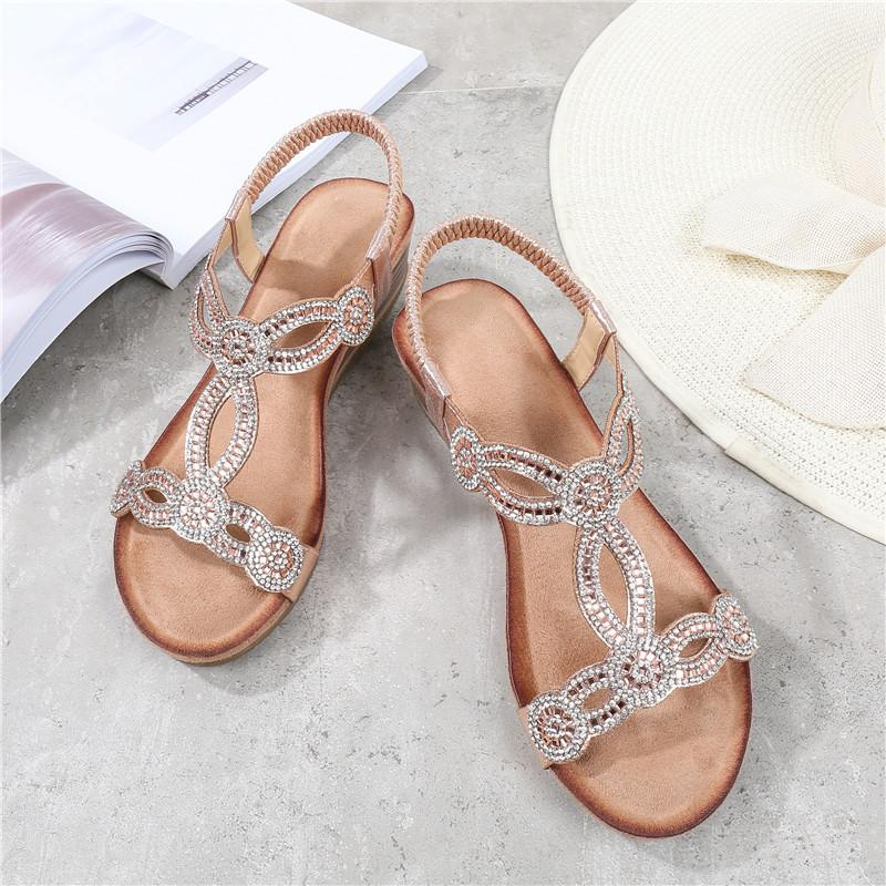 Vintage Wedge Heel Beaded Sandals