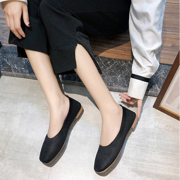 Women Slip-On Flat Loafers Square Toe Flats Knitting Casual Flat Shoes
