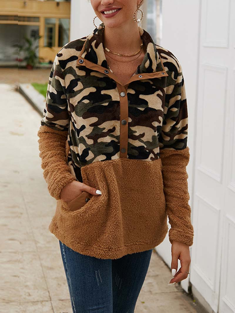 Colorblock Camouflage Print Lapel Button Pullover Sweatshirt Tops