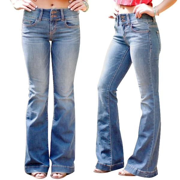 Mid Waist Casual Button Bell-bottom Jeans