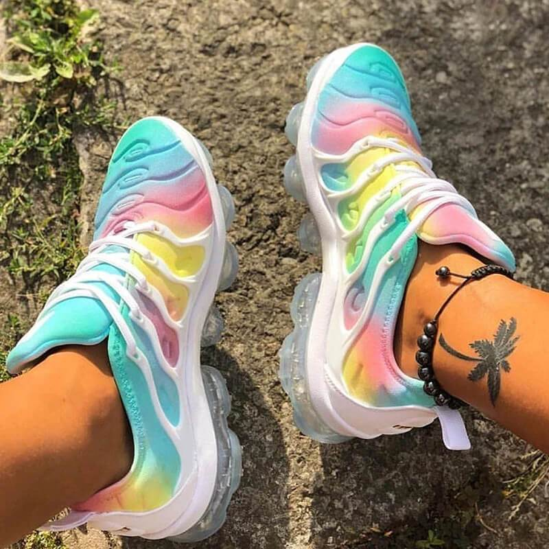 Women Athletic Hit Color Lace Up Non-slip Air Cushion Platform Sneakers
