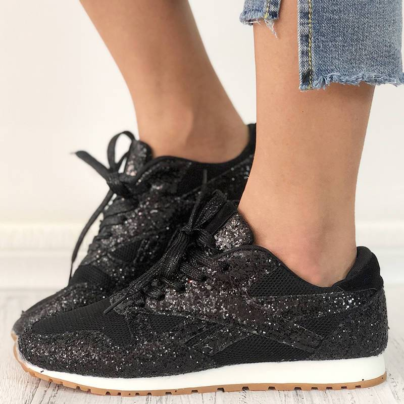 Women's Solid Sequined Lace-up Sneakers
