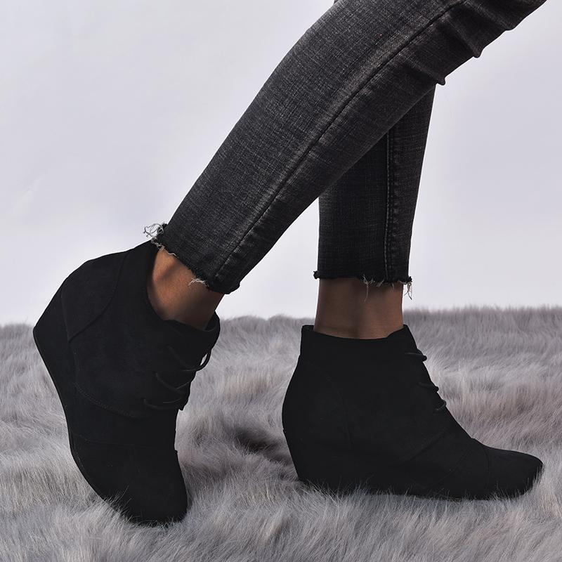 Women's Vintage Wedge Heel Lace Up Ankle Boots