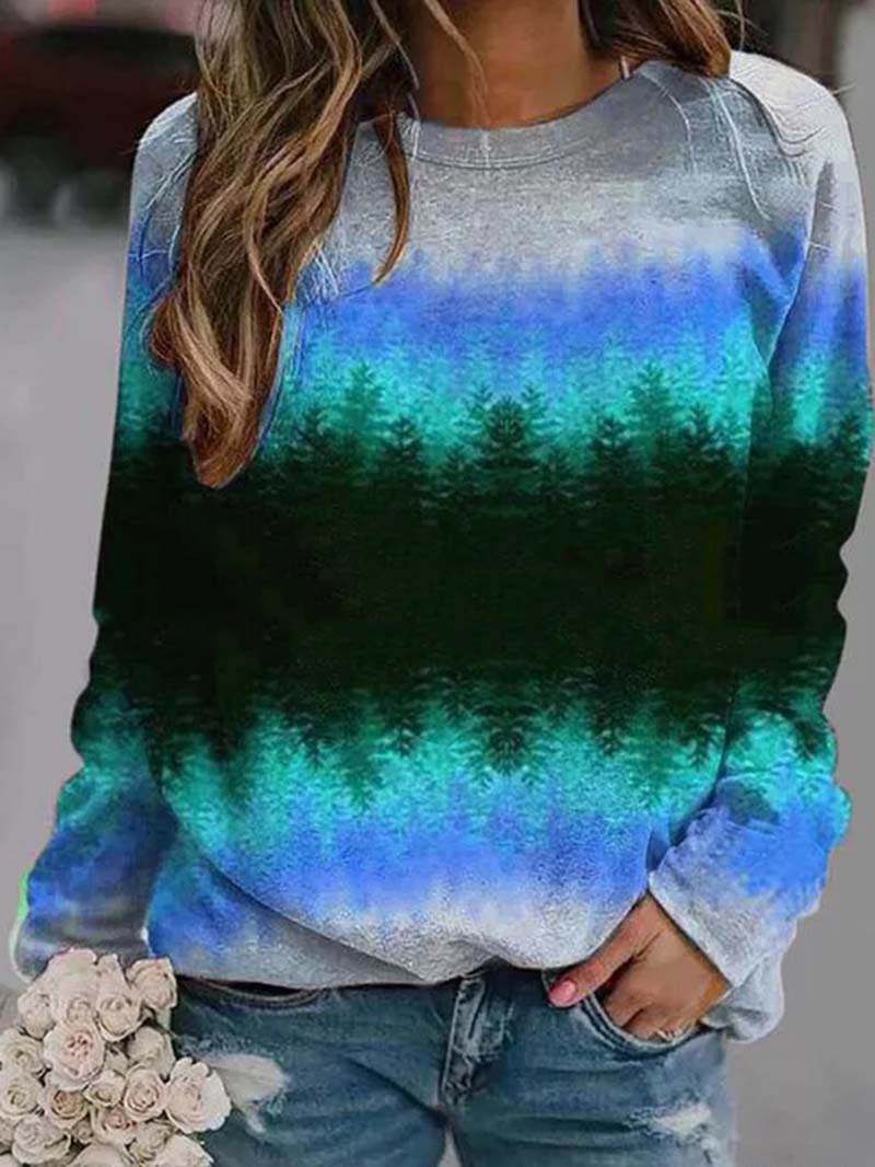 Gradient Color Landscape Print Long Sleeve Sweatshirt Tops