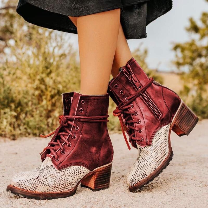Faux Leather Color Block Winter Boots