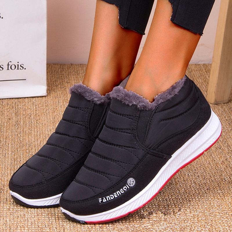 New Warm Flat Bottom Non-slip Women's Snow Boots Cotton Shoes