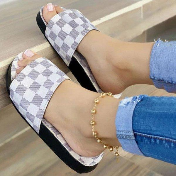 Women Plaid Soft Non-slip Casual Slippers
