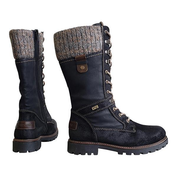 Women Knitted Lace Up Mid-calf Boots