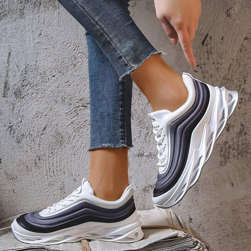 Women Stylish Stripe Solid Color Lace Up Soft Platform Sneakers