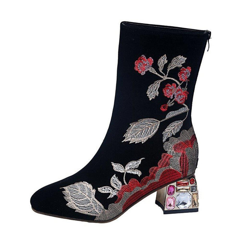 Plus Size Women Comfy Flowers Embroidered Mid Calf Zipper Chunky Heel Boots