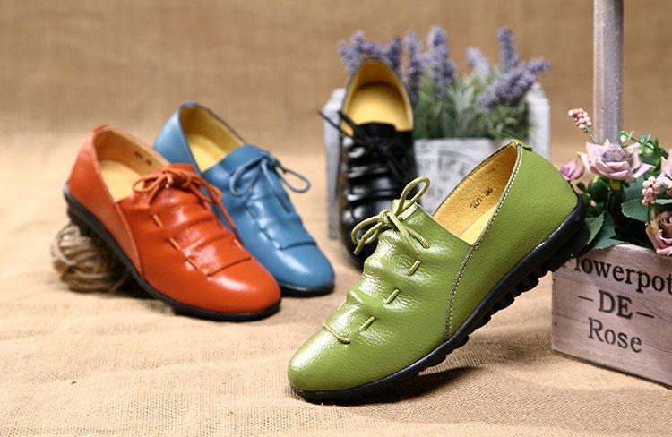 Lace-up Leather Flat Loafer