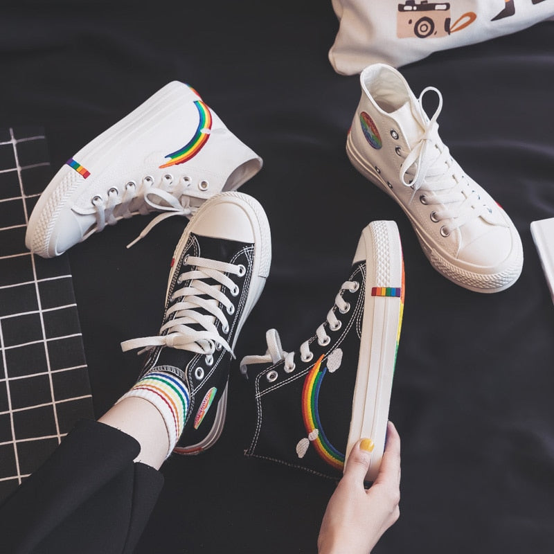 Women's Fashion 2020 New Rainbow Retro Canvas Shoes Vulcanized Shoes