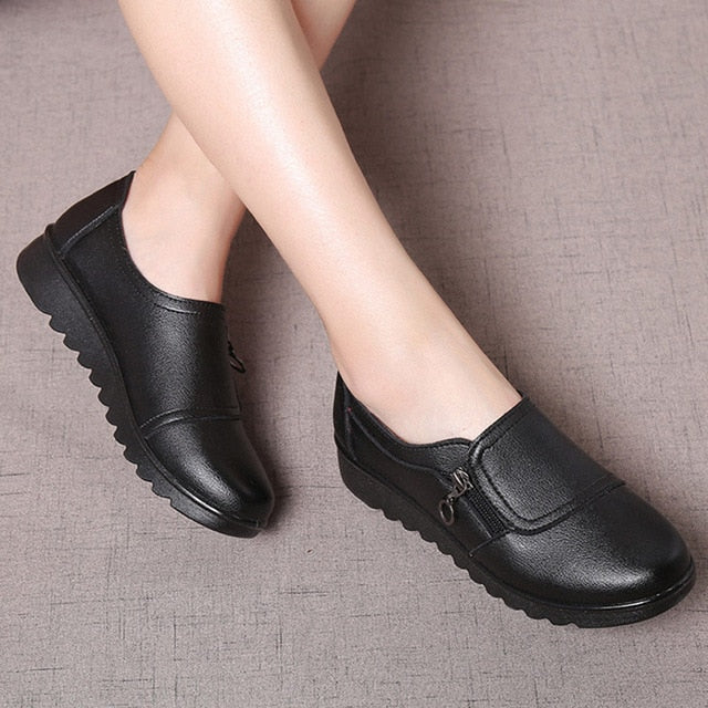 Loafers round toe shoes woman sewing zip non-slip ladies shoes large size shoes